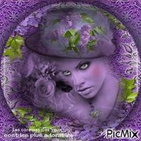 portrait femme lilas,,