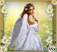 Angel con margaritas
