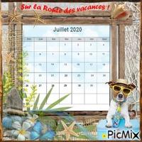 Calendrier de Juillet 2020. Thème vacances