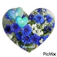 blue flowers-heart