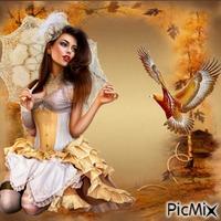 un aigle et une femme