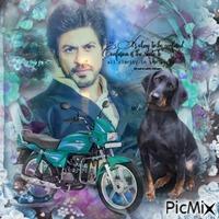 Shahrukh Khan avec une bête et une citation