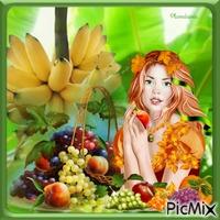 Femme avec un panier de fruits.