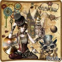 Steampunk art postal card