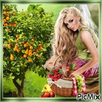 femme et panier de fruit