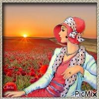 Rose dans le champ de coquelicots