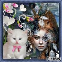 Femme fantasy avec son chat.