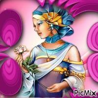 Femme Art Déco colorée