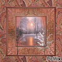 paysage d'hiver rosé