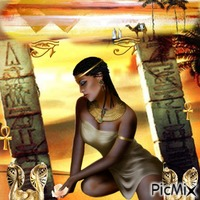 Fille Egyptienne sur fond doré
