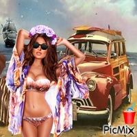 Cute beach lady with car