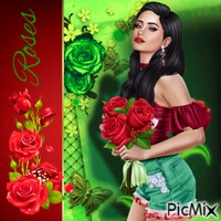 Girl With Roses - Red & Green