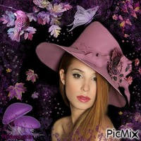 Portrait de femme violet.