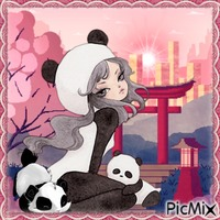 Anime & panda kawaii