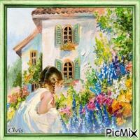 Fille et le jardin