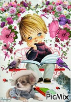 little boy reading and day dreaming with his pets.