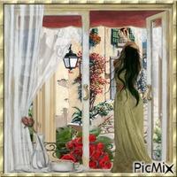 femme de dos regardant la rue par la fenêtre
