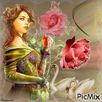 Femme, cygnes et roses.