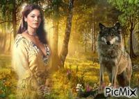 indienne et loup