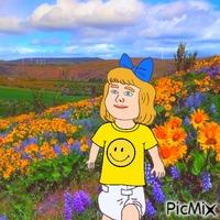 Baby in sunflower field