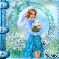 Femme en bleu.
