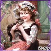 Jolie petite fille, amie des animaux