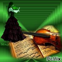 Mulher Violinista - verde