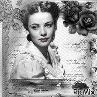 Femme vintage avec des fleurs