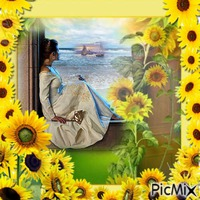 Femme et fleur jaune
