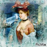 Portrait de femme vintage turquoise