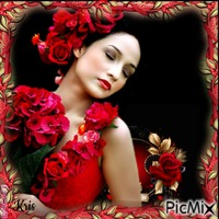 Fille avec des roses