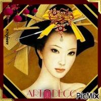 Asian portrait Art Deco