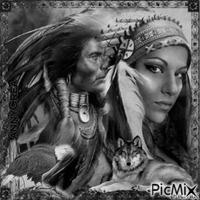 Amérindiens noir et blanc