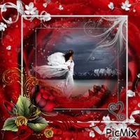 femme en rouge et blanc