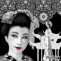 portrait femme chinoise sur fond noir aux yeux dorés