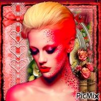 Femme avec une rose - Tons rouges et vertes