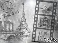 Carte postale Paris en gris.