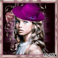 girl with purple hat