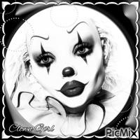 Clown Girl - Black & White