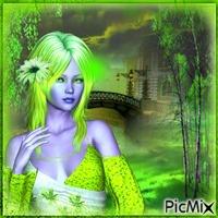 portrait de femme en vert neons