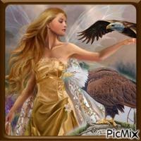 La femme et ses aigles.