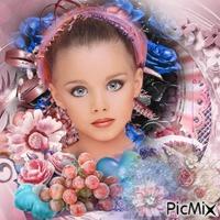 Fille aux yeux bleus - Tons roses et bleus