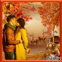 Couple romantique d'automne.