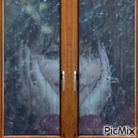 Pluie derrière la fenêtre