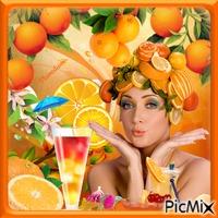 Fille et oranges.