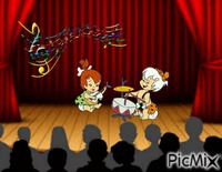 Pebbles and Bamm-Bamm singing on stage