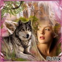 La femme et le loup.