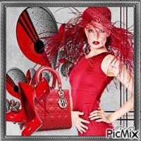chapeau original pour femme/ rouge et grise /❤️🌼