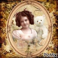 Petite fille avec un ours en peluche vintage