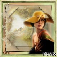 Femme retro et paysage